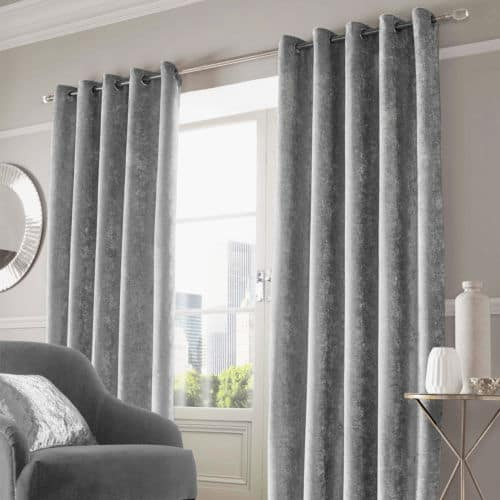 Crushed Velvet Pair Fully Lined Eyelet Ring Top Curtains Ready Made Silver Black