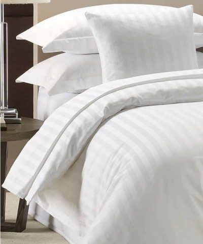 100% LUXURY HOTEL QUALITY COTTON SATIN STRIPE DUVET COVER SET WHITE 300 TC