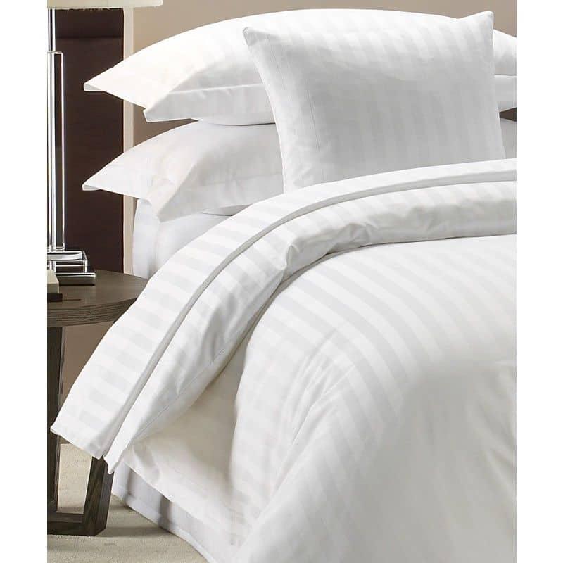 100% LUXURY HOTEL QUALITY COTTON SATIN STRIPE DUVET COVER SET WHITE 300 TC
