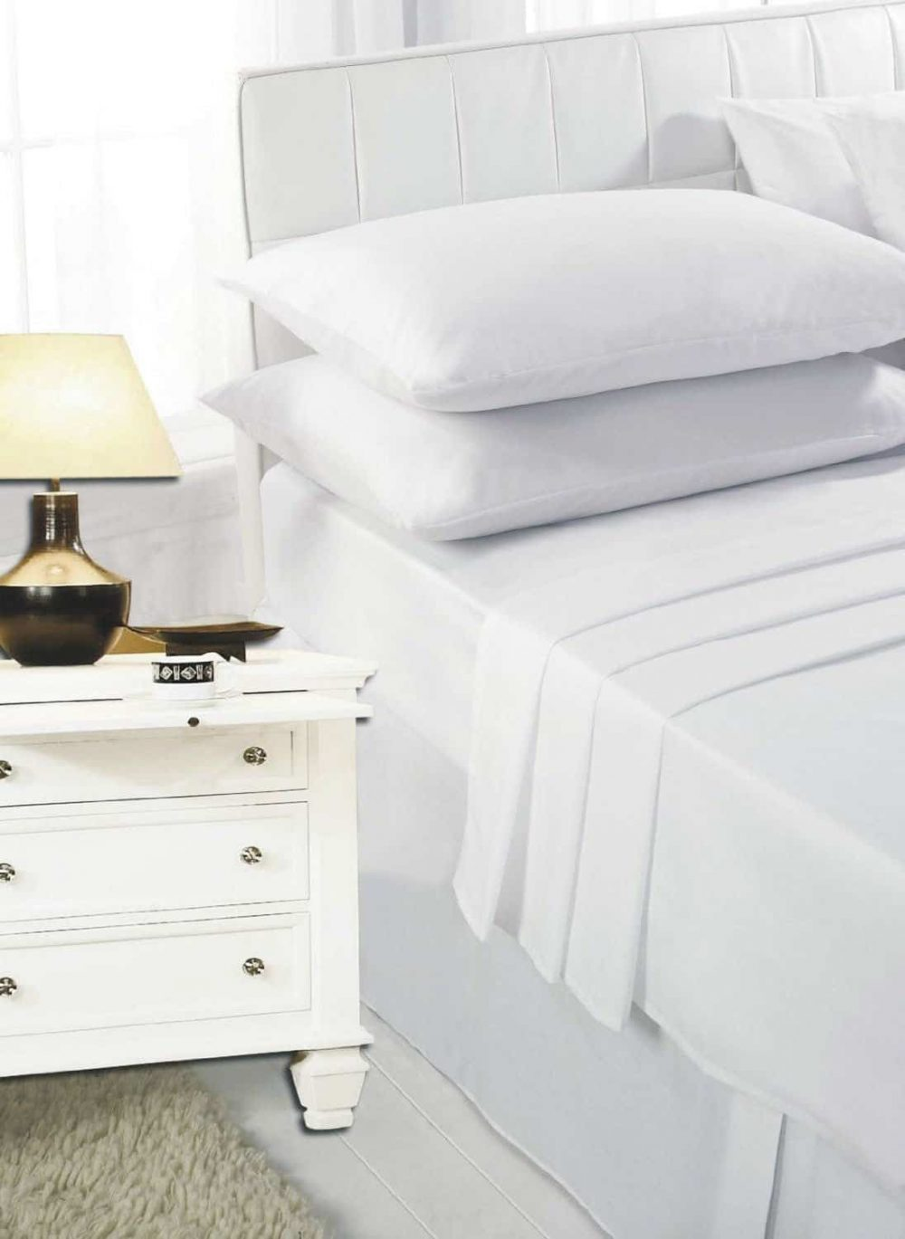 Highliving 100% Egyptian Cotton 200 Thread Count Flat Sheet, White, Cream