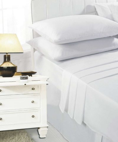 Highliving 100% Egyptian Cotton 200 Thread Count Flat Sheet, White, Cream