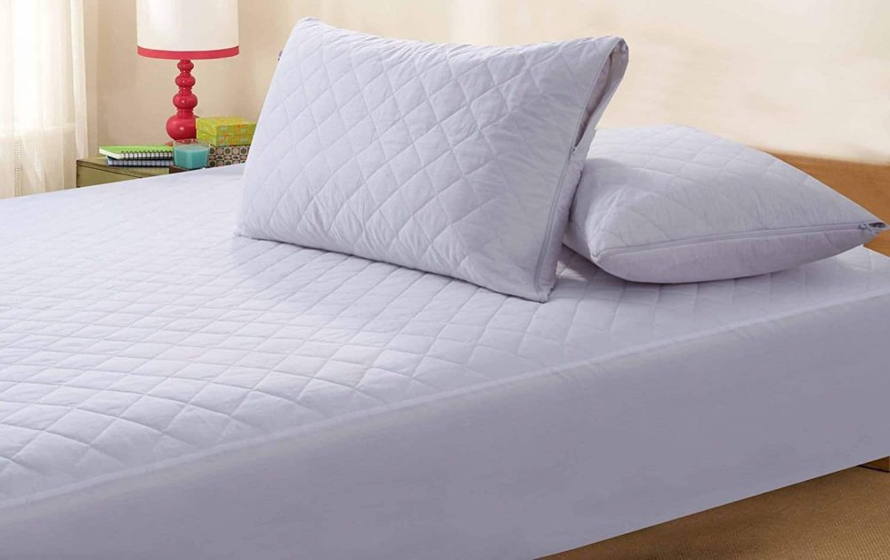Zipped Quilted Pillow Protector Anti Allergy - Pair