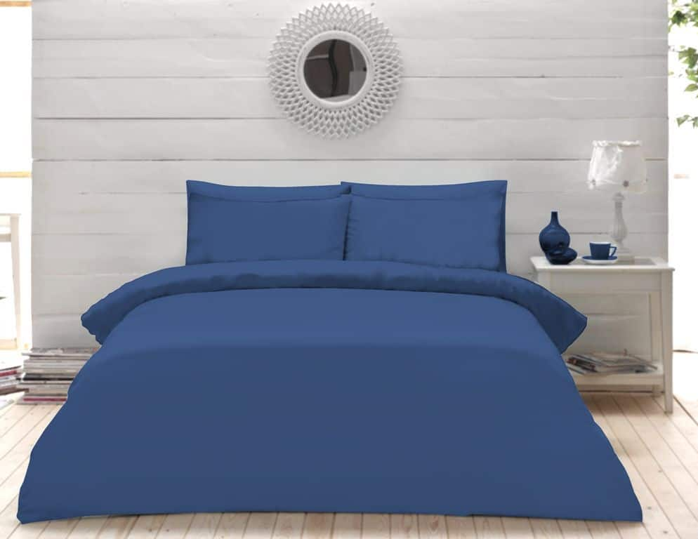 Plain Dyed Percale Duvet Quilt Cover Bedding Set Pillow Case Single Double King