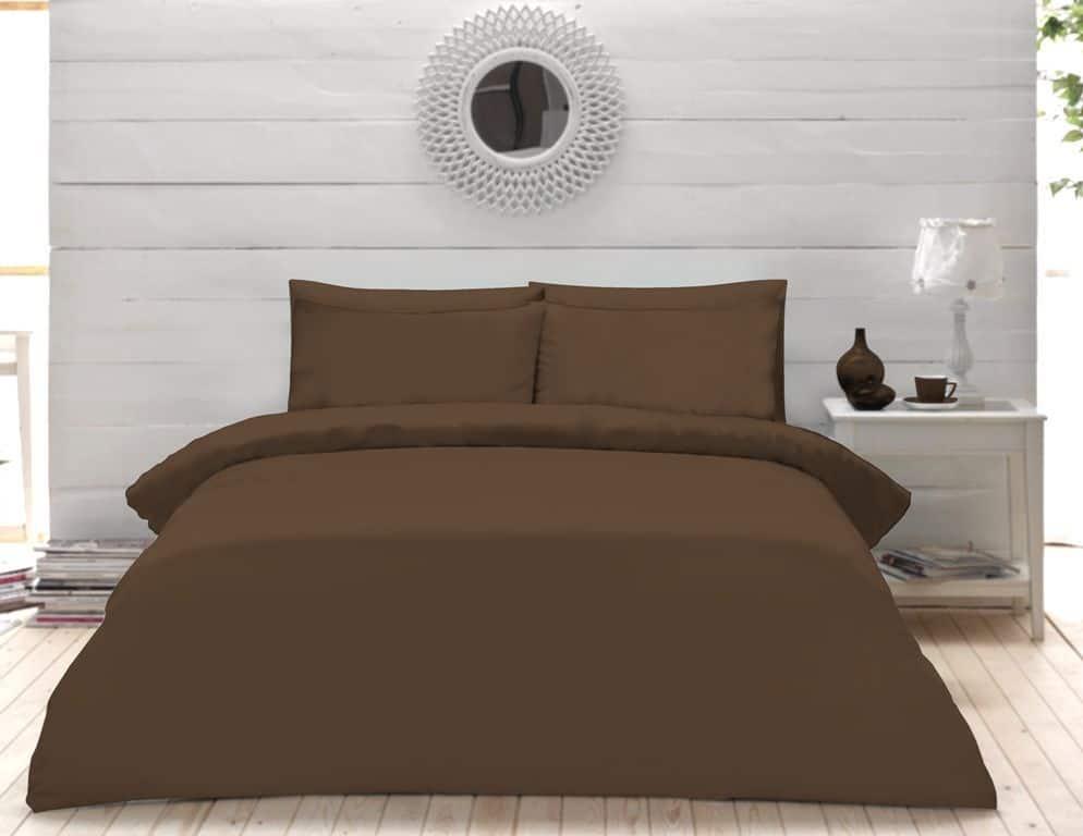 Plain Dyed Percale Duvet Quilt Cover Bedding Set Pillow Case Single Double King