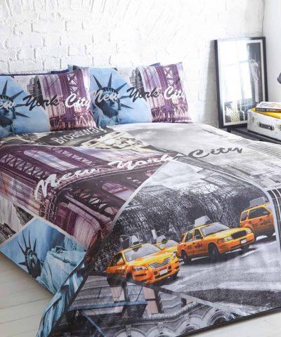 New York City Taxi Scene Printed Duvet Quilt Pillowcase Single Double King