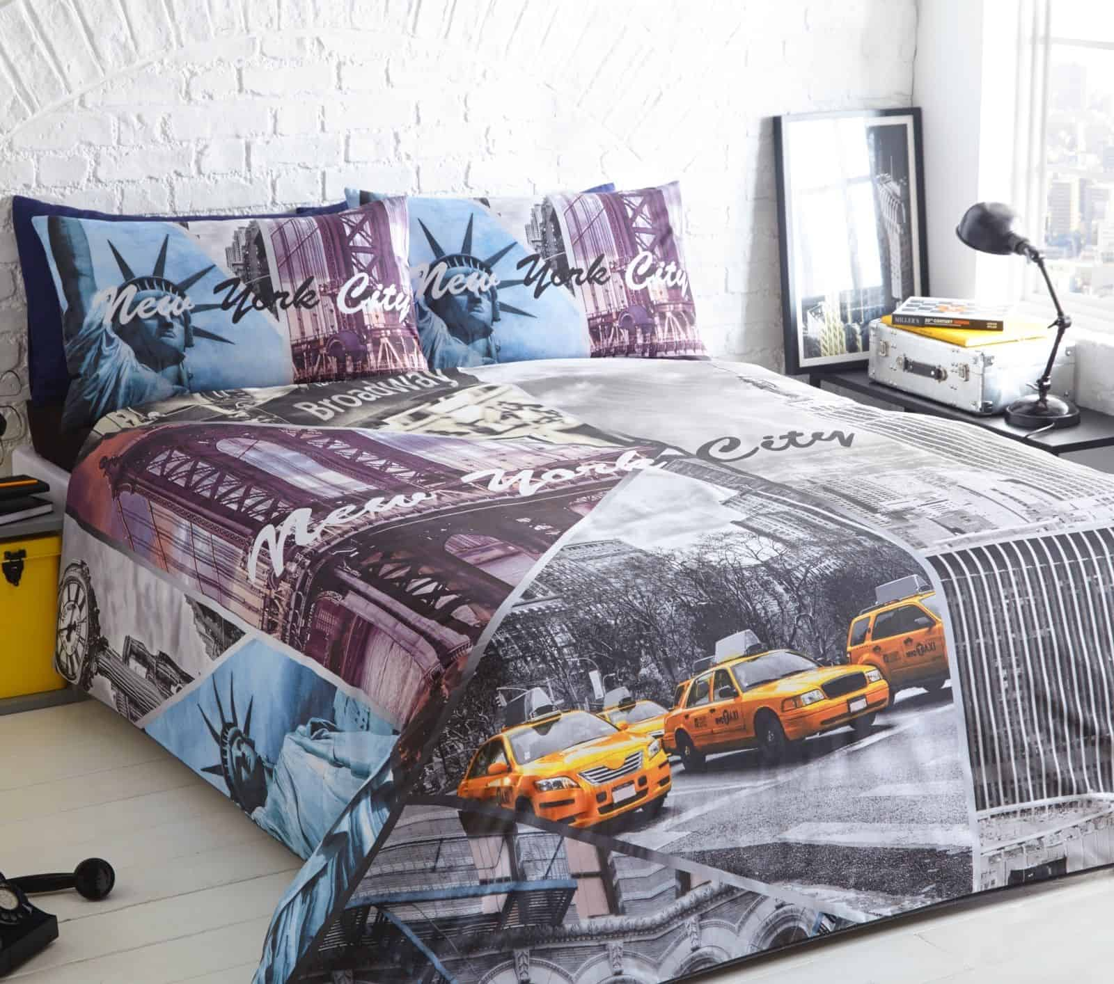 King Of New York Scene: New York City Taxi Scene Printed Duvet Quilt Pillowcase