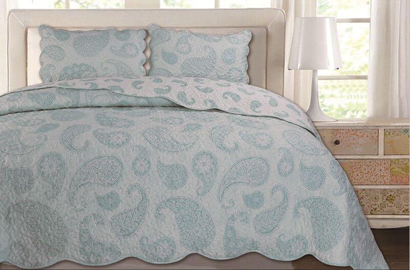 3Pcs Quilted Bedspread Sets Comforter Set Floral Vintage Patch Work Double King