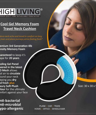 Highliving® Memory Foam Gel Travel Car Wheel Chair Office Home Neck Cushion