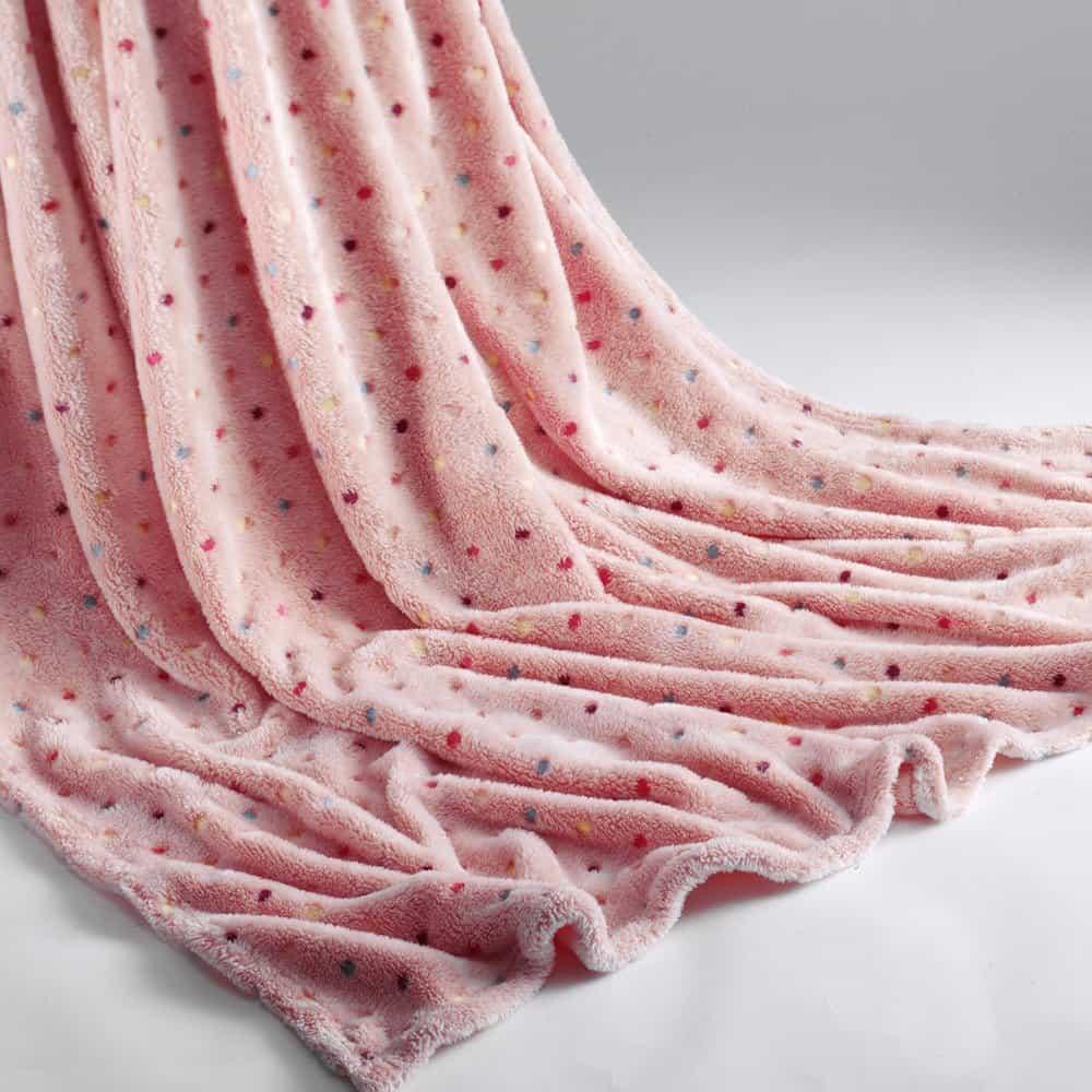Luxury Super Soft Fleece Blanket Throw Warm Thick Sofa Bed Polka Dot 150 x 200cm