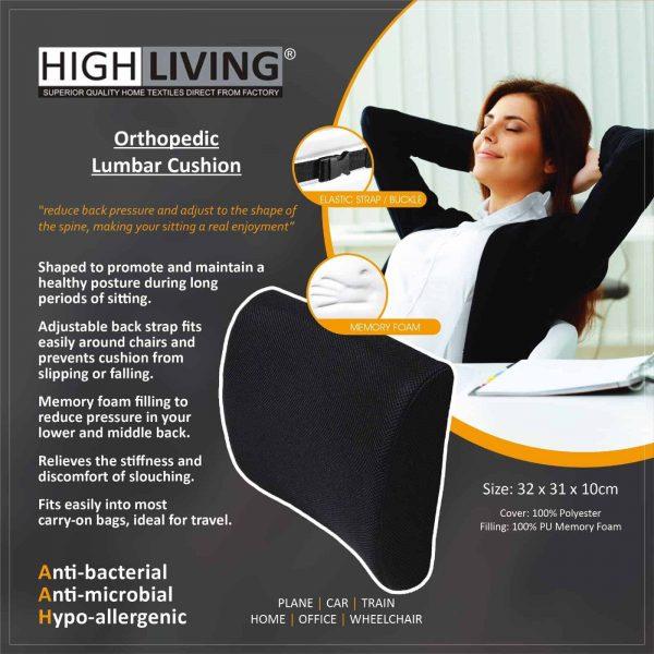 Highliving® Orthopedic Memory Foam Lumbar Support Cushion Backache Posture