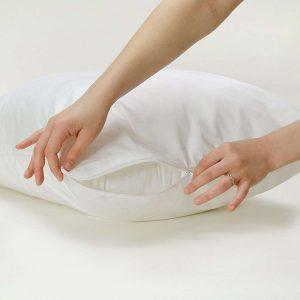Pillow Protector Cotton Rich Anti Allergy Protector Zipped Closing