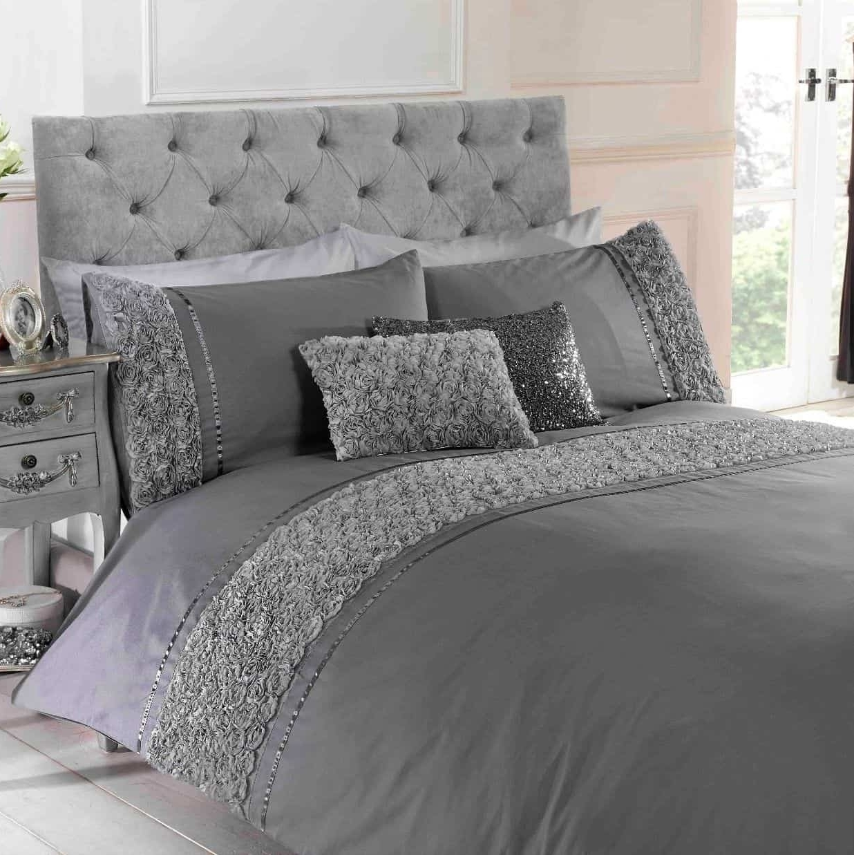 Limoges Rose Floral Chic Ruffle Silver Grey Duvet Cover