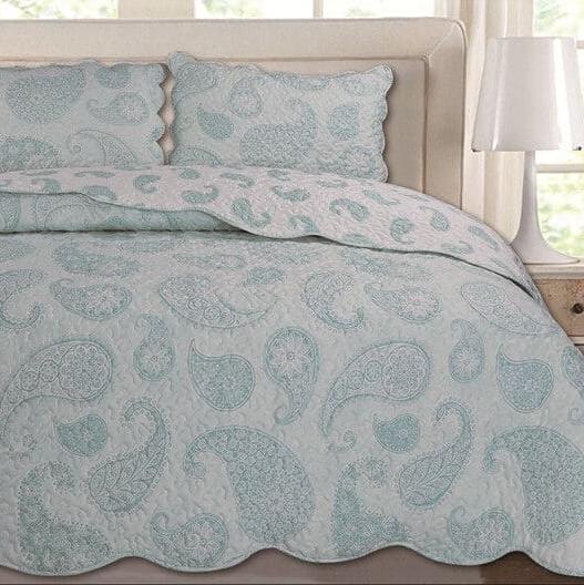 3pcs Quilted Bedspread Sets Comforter Set Floral Vintage