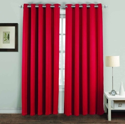 RING TOP THERMAL BLACKOUT PAIR EYELET WOVEN READY MADE CURTAINS