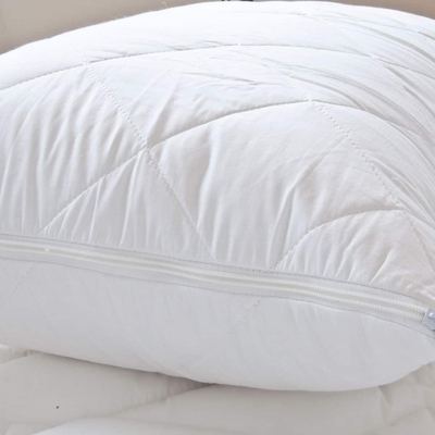 Anti Allergy Quilted Pillow Protectors Pair Zipped Closing Hotel Quality