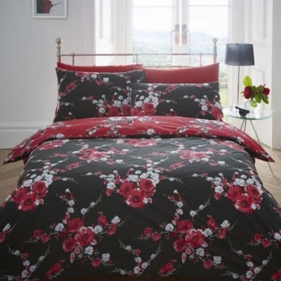 Beautiful Birds Blue Black Duvet Quilt Cover Set Pillowcase Single Double King