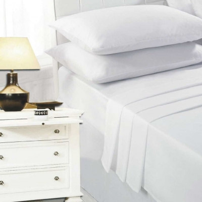 100% Egyptian Cotton 200 Thread Count Fitted Sheet, White, Cream